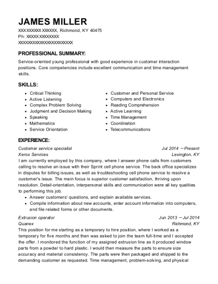 Customer Service Specialist resume format Kentucky
