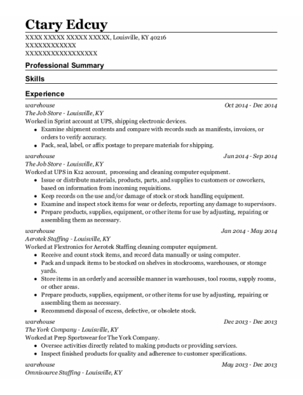 Warehouse resume sample Kentucky
