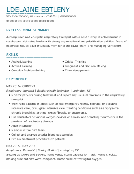 Respiratory Therapist resume sample Kentucky