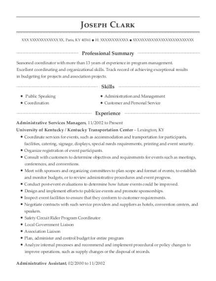 Administrative Services Managers resume template Kentucky
