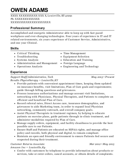 Support Staff resume sample Kentucky