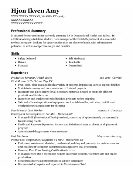 Production Foreman resume format Kentucky