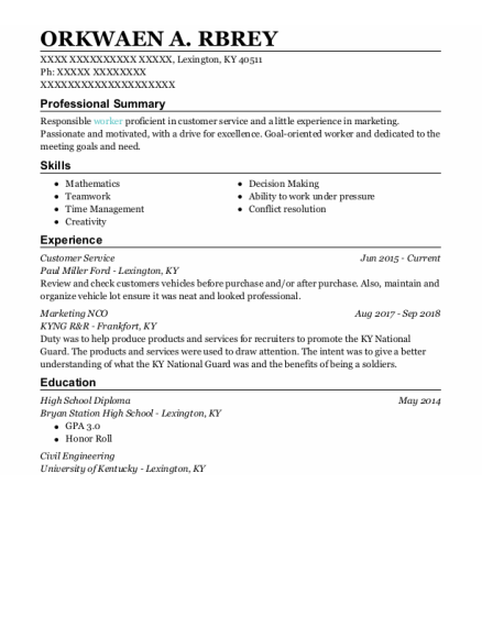 customer service resume template Kentucky