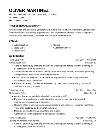 Home Care Aide resume format Louisiana