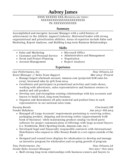 Event Manager resume format Louisiana