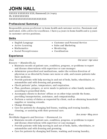 Dss1 resume sample Louisiana