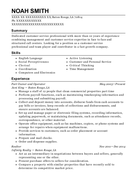 Part Owner and Operator resume format Louisiana
