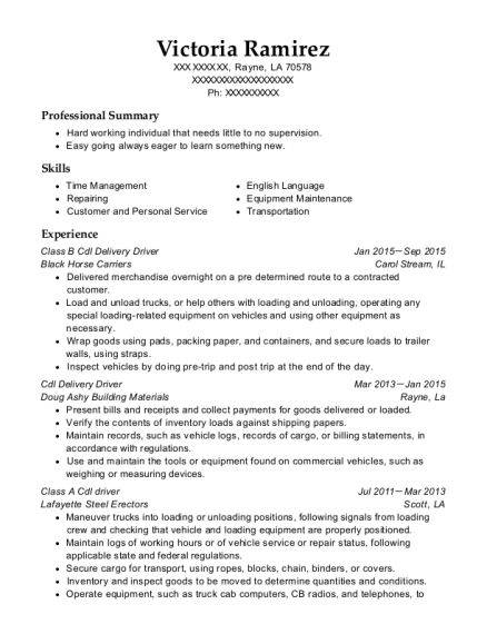 Class B Cdl Delivery Driver resume template Louisiana