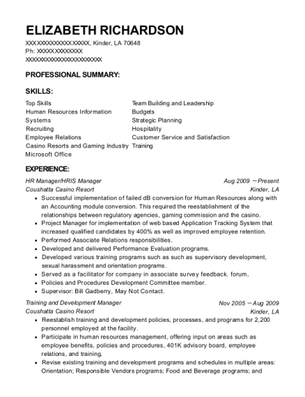 HR Manager resume format Louisiana