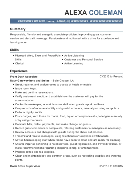 Front Desk Associate resume sample Louisiana