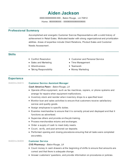 Customer Service Assistant Manager resume sample Louisiana