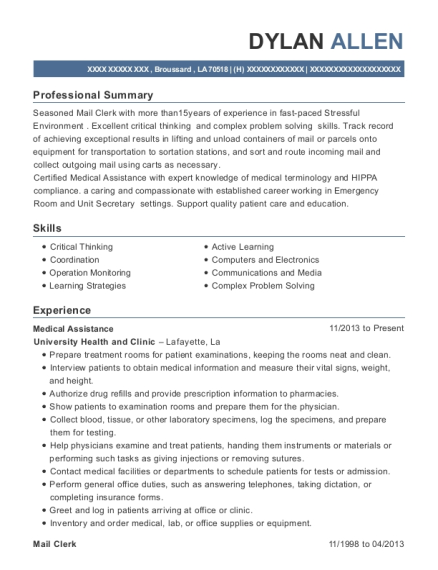 Medical Assistance resume format Louisiana