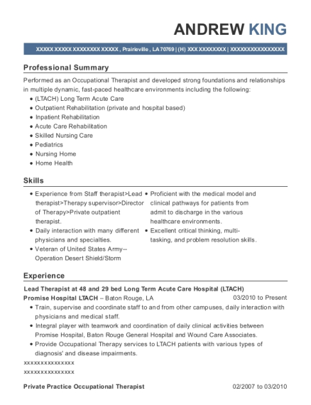 Lead Therapist at 48 and 29 bed Long Term Acute Care Hospital resume format Louisiana