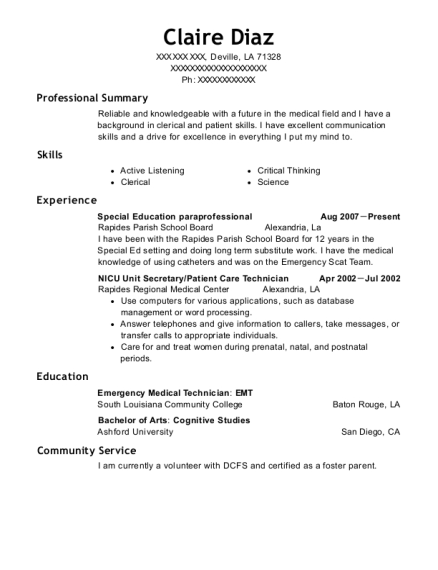 Special Education paraprofessional resume sample Louisiana