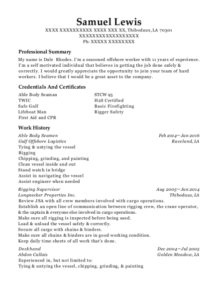 Able Body Seamen resume example Louisiana