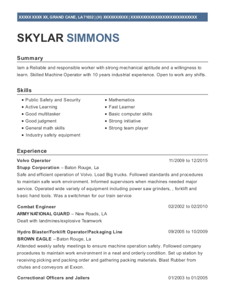 Volvo Operator resume sample Louisiana