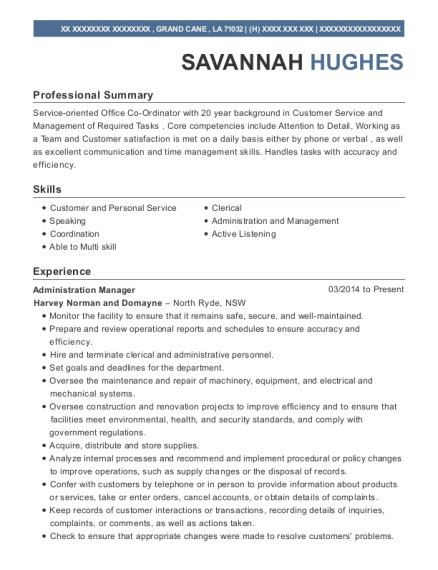 Administration Manager resume sample Louisiana