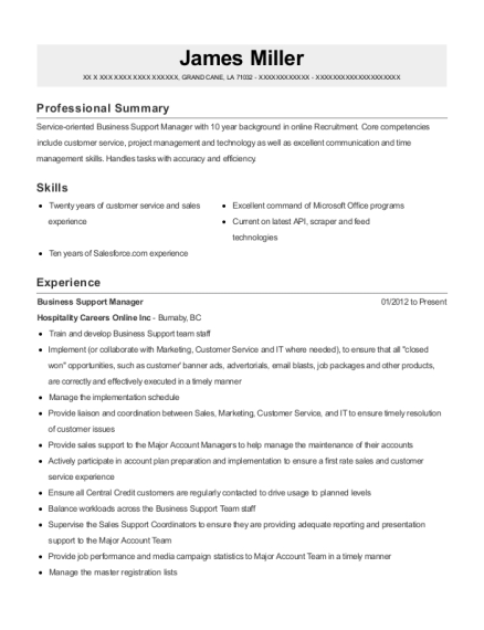 Business Support Manager resume template Louisiana