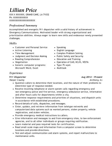 911 Dispatcher resume template Louisiana