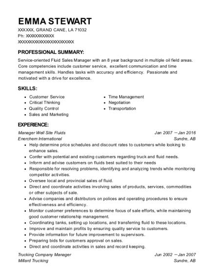 Manager Well Site Fluids resume template Louisiana