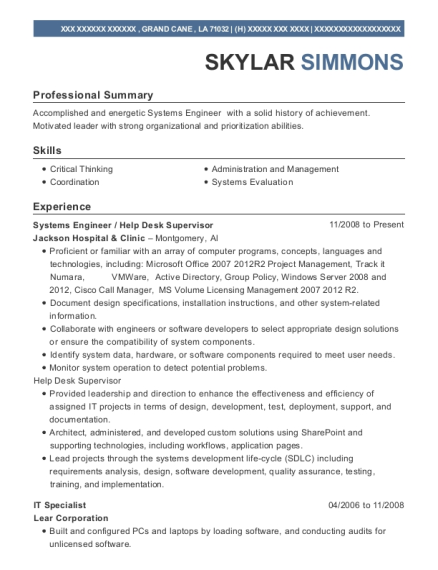 Systems Engineer resume sample Louisiana