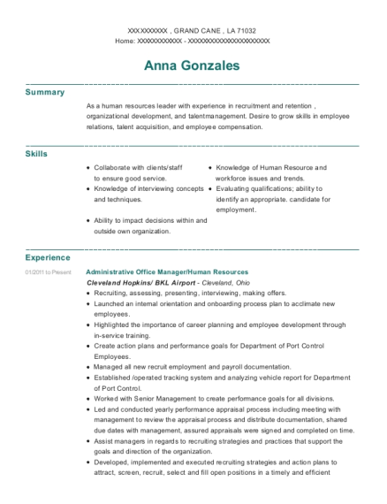Administrative Office Manager resume format Louisiana