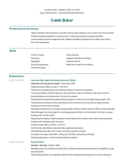Insurance Sales Agent and Quality Assurance Officer resume format Louisiana