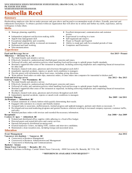 Food and Beverage Server resume format Louisiana