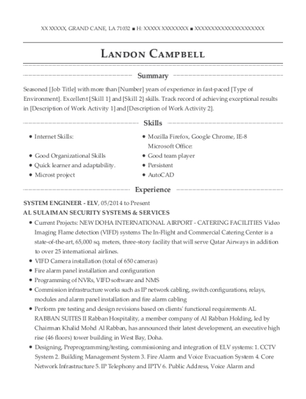 SYSTEM ENGINEER ELV resume template Louisiana