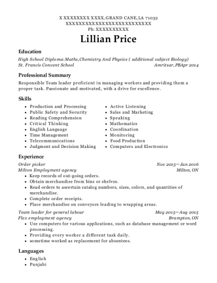 Order picker resume template Louisiana