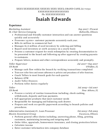 Marketing Assistant resume format Louisiana