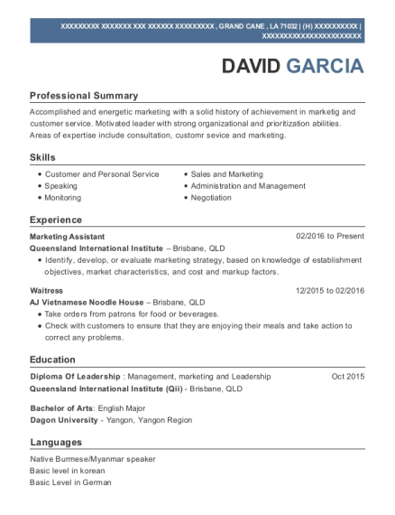 Marketing Assistant resume sample Louisiana