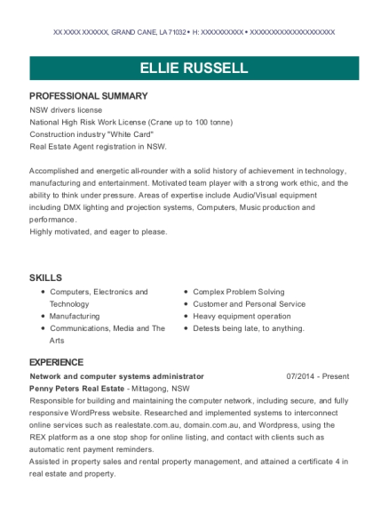 Network and Computer Systems Administrator resume example Louisiana