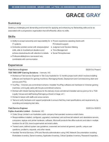 Field Service Engineer resume format Louisiana