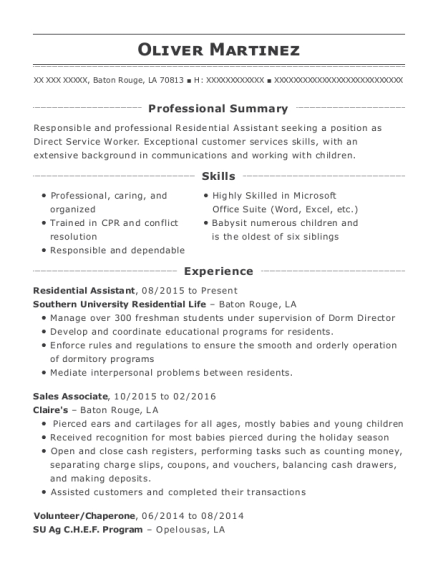 Residential Assistant resume sample Louisiana