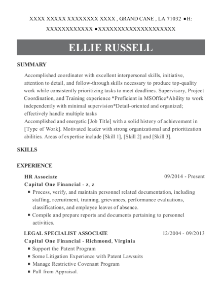 HR Associate resume example Louisiana