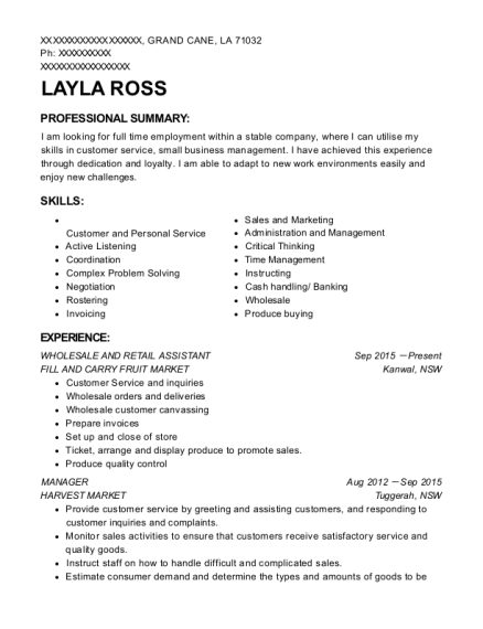 WHOLESALE AND RETAIL ASSISTANT resume format Louisiana