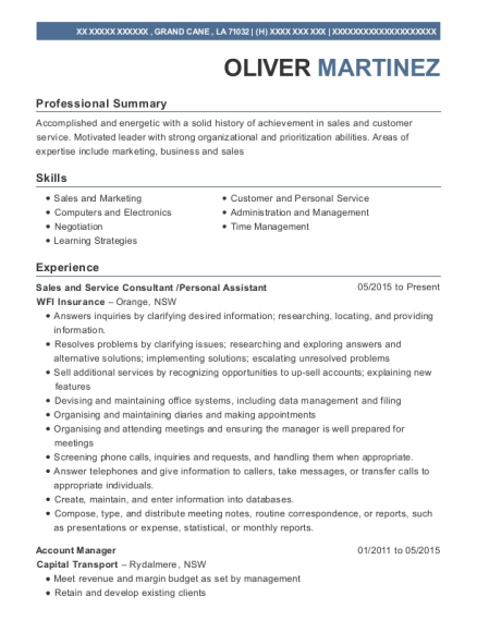 Sales and Service Consultant resume template Louisiana