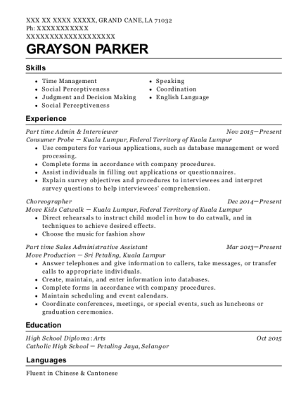 Part time Admin & Interviewer resume example Louisiana