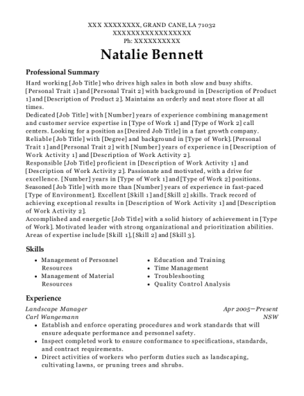 Landscape Manager resume format Louisiana