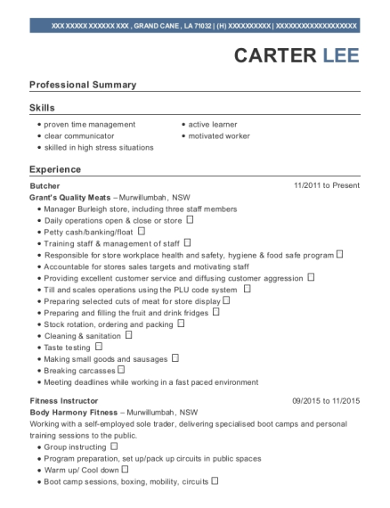 Butcher resume sample Louisiana