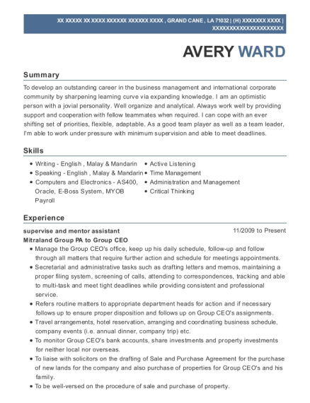 supervise and mentor assistant resume template Louisiana