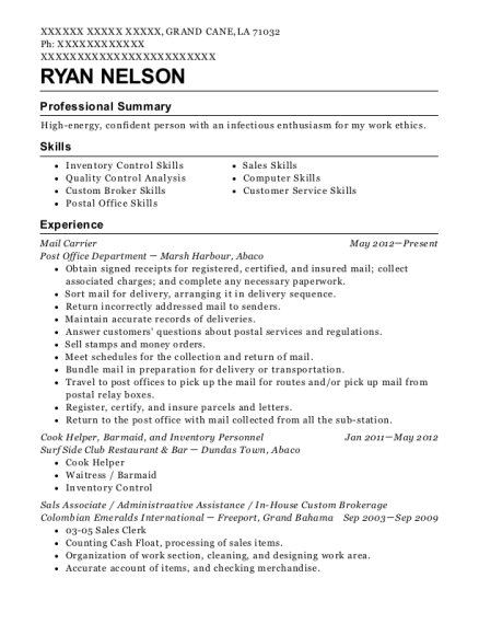 Mail Carrier resume template Louisiana