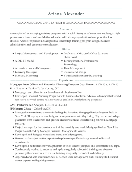 Mortgage Loan Officer and Financial Planning Program Coordinator resume template Louisiana