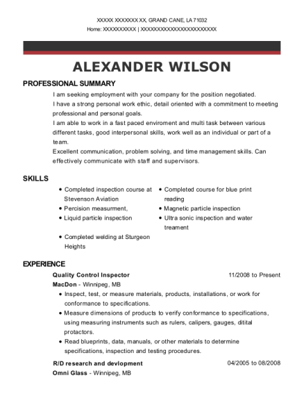20 Best Quality Control Inspector Resumes Resumehelp