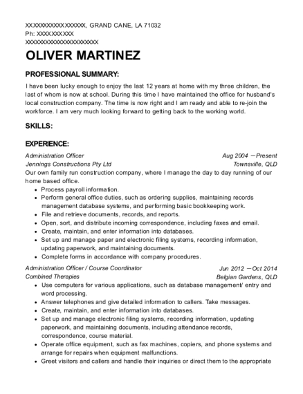 Administration Officer resume example Louisiana