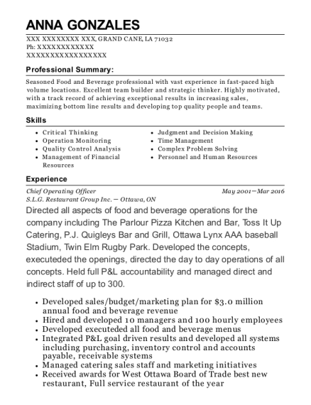 Chief Operating Officer resume template Louisiana