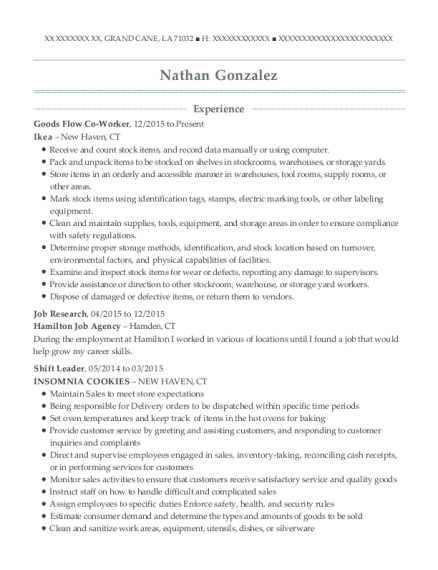 Goods Flow Co Worker resume template Louisiana
