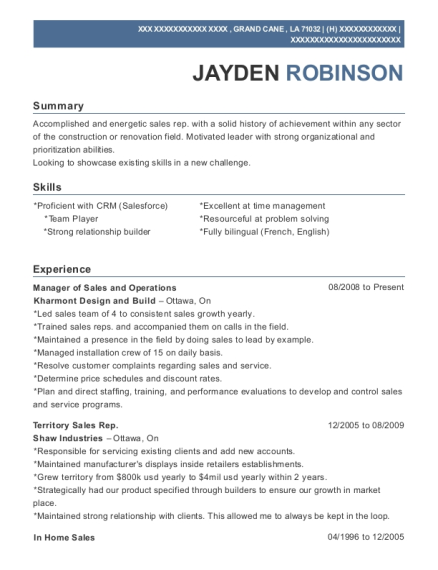 Manager of Sales and Operations resume example Louisiana