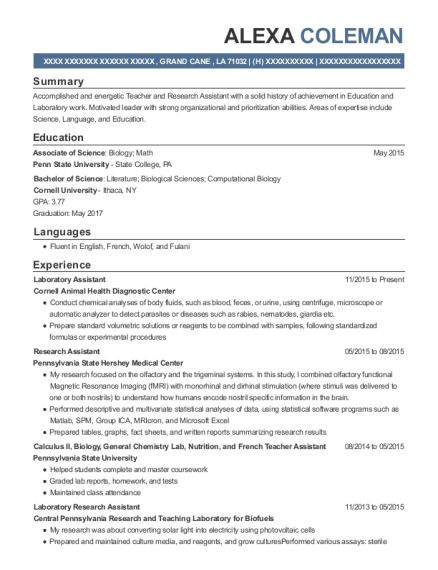 Laboratory Assistant resume example Louisiana